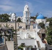 Überblick über Megalochori, Santorini, Griechenland Stockfotos