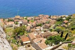 Überblick über monemvasia Griechenland stockfoto