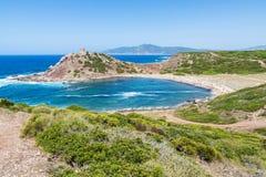 Überblick über Porticciolo-Strand in Sardinien Lizenzfreies Stockfoto