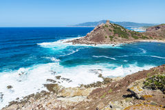 Überblick über Porticciolo-Strand in Sardinien Stockfotos
