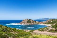 Überblick über Porticciolo-Strand in Sardinien Lizenzfreie Stockfotografie