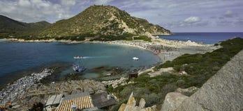 Überblick über Strand Punta Molentis lizenzfreie stockfotografie