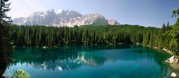 Überblick Karersee Trentino Alt Adige Lizenzfreie Stockfotos