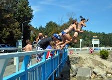 Überbrücken Sie das Springen in die Kaiteriteri Lagune Lizenzfreies Stockfoto
