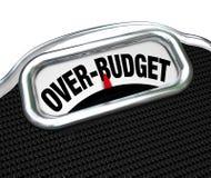 Überbudgetierte Wörter auf Skala-Finanzproblem-Schuld-Defizit Lizenzfreie Stockfotografie