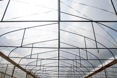 Überdachen Sie Betriebskindertagesstätte Bauernhof für Industriezusammenfassungshintergrund Stockfoto
