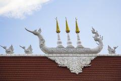 Überdachen Sie Detail von Wat Huay Pla Kang-Tempel Chiangrai, Thailand Stockfotografie