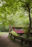 Überdachte Brücke im Wald Stockfoto