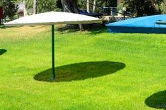 Überdachung des grünen Grases und des Zweiregenschirmes von der Sonne Stockbild