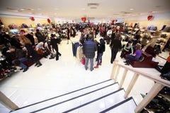 Übereinkunftverkauf der Schuhe in Okhotny Ryad stockfotografie