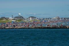 Überfüllter Hampton Beach lizenzfreies stockfoto