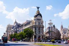 Überfahrt Calle de Alcala und Gran über in Madrid, Spanien Lizenzfreies Stockfoto