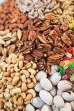 Überfluss an einer Vielzahl von Nüssen Acajoubaum, Pistazien, Marmelade, Walnüsse, Pekannüsse - Reiche eines gesunde Lebensmittel Lizenzfreie Stockfotografie