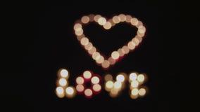 Übergang zu glühendem Herzen und zu Liebe stock footage