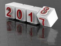 Übergangskonzept 2017 bis 2018 Lizenzfreie Stockfotografie