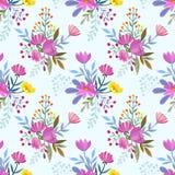 Übergeben Sie abgehobenem Betrag bunte Blumen nahtlose Musterhintergrundbeschaffenheit lizenzfreie abbildung