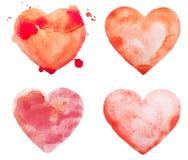 Übergeben Sie Aquarellaquarellkunstfarben-Liebesrot des abgehobenen Betrages Stockfotografie
