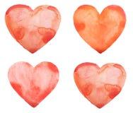 Übergeben Sie Aquarellaquarellkunstfarben-Liebesrot des abgehobenen Betrages Stockbilder