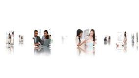 Übergeben Sie Blättern durch eine Montage von den Videos, die eine Geschäftsfrau mit einbeziehen stock footage