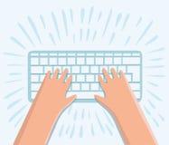 Übergeben Sie das Arbeiten an Tastatur am Arbeitsplatz mit Draufsicht des flachen Designs der Ausrüstung Lizenzfreie Stockfotos