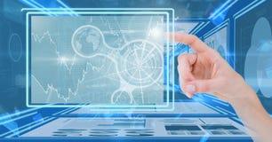Übergeben Sie das Berühren und das Einwirken auf Technologieschnittstellenplatten Lizenzfreie Stockbilder