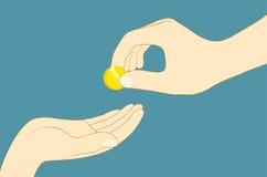 Übergeben Sie das Geben des Geldes Stockfotos