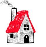Übergeben Sie das gezogene kleine Haus, das auf weißem Hintergrund lokalisiert wird stockfotografie