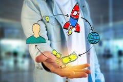 Übergeben Sie das gezogene Konzept, das von der Ikone des Startens eines Startung Firma gemacht wird Lizenzfreies Stockbild