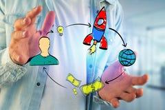 Übergeben Sie das gezogene Konzept, das von der Ikone des Startens eines Startung Firma gemacht wird Stockbilder