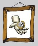 Übergeben Sie das Halten der gebrochenen Euromünze im Bilderrahmen Lizenzfreies Stockfoto