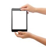 Übergeben Sie das Halten der schwarzen Tablette nach innen lokalisiert auf weißem Beschneidungspfad Stockfotografie