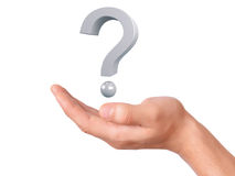Übergeben Sie das Halten des Fragezeichens auf einem weißen Hintergrund Lizenzfreies Stockfoto