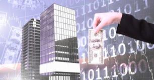 Übergeben Sie das Halten des Geldes und der hohen Gebäude mit binär Code-Skalahintergrund Stockbilder