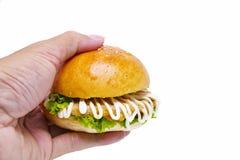 Übergeben Sie das Halten des Hamburgers (banh MI-kep thit) um jemand Isolator zu geben lizenzfreie stockfotografie