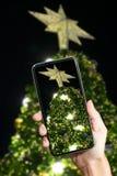 Übergeben Sie das Halten des intelligenten Telefons gegen Weihnachtsbaumhintergrund Stockfoto