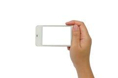 Übergeben Sie das Halten des intelligenten Telefons lokalisiert auf weißem Hintergrund Lizenzfreies Stockfoto