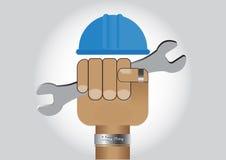 Übergeben Sie das Halten des Schlüssels mit Schutzhelm, Werktagsvektor-Illustrationskonzept Lizenzfreie Stockfotos