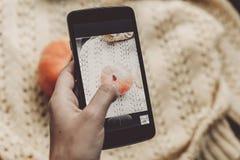 Übergeben Sie das Halten des Telefons und das Machen des Fotos des Kürbises und des Blattes auf warmem Stockfotografie