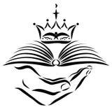 Übergeben Sie das Halten eines Buches mit einer christlichen Krone lizenzfreie abbildung