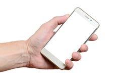 Übergeben Sie das Halten eines Telefons lokalisiert auf einem weißen Hintergrund, der auf dem links gelegen ist lizenzfreie stockfotos