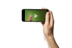 Übergeben Sie das Halten von Smartphone, leerer Bildschirm auf weißem Hintergrund Lizenzfreies Stockfoto