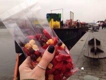 übergeben Sie das Halten von Trockenfrüchten auf einem Hintergrund des Flusses und der Schiffe Lizenzfreie Stockbilder