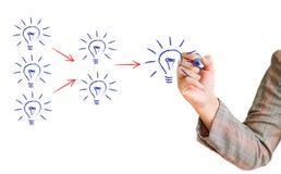 Übergeben Sie das Zeichnen eines Diagramms Glühlampe Lizenzfreie Stockbilder