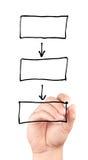 Übergeben Sie das Zeichnen eines leeren Diagramms, das auf weißem Hintergrund lokalisiert wird Stockfotografie