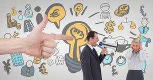 Übergeben Sie das Zeigen auf Geschäftsleute gegen weiße Hintergrundgeschäftsikonen Stockfoto