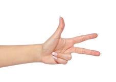 Hand, die drei Finger lokalisiert auf Weiß zeigt Stockfotografie