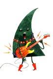 Übergeben Sie den gezogenen Aquarellkarikatur Weihnachtsbaum, lokalisiert auf weißem Hintergrund Stockfoto