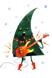 Übergeben Sie den gezogenen Aquarellkarikatur Weihnachtsbaum, lokalisiert auf weißem Hintergrund Stockbild