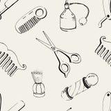 Übergeben Sie den gezogenen Friseursalon, der mit Zubehör Kamm, Rasiermesser, Rasierpinsel, Scheren, Pfosten des Friseurs s und F vektor abbildung