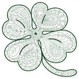 Übergeben Sie den gezogenen Klee mit vier Blättern für erwachsene Farbtonseiten in der Gekritzelart, ethnische dekorative Vektori Stockfotos